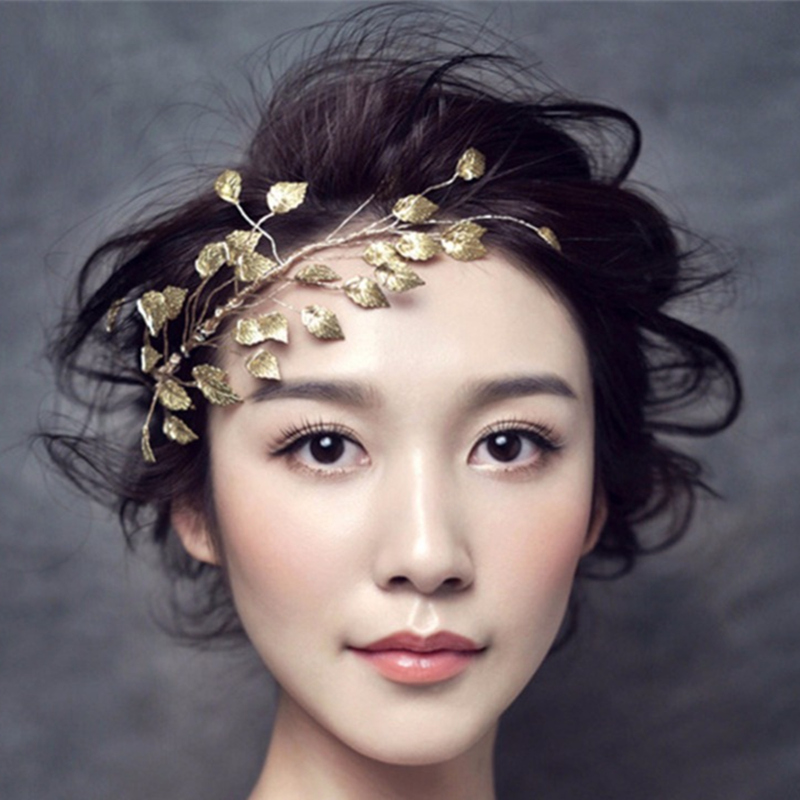 New Women Golden Leaves Frontlet Hair Accessories For Bride Wedding