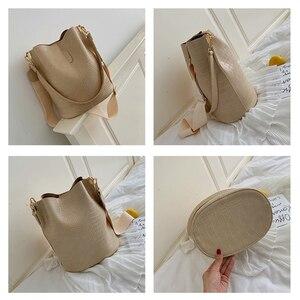Image 3 - Ansloth Patchwork Shoulder Bag Women Crocodile Design Bucket Bag Ladies PU Leather Crossbody Bag Female Solid Color Bag HPS586