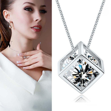 Crystal Pendant Necklace Simple Trendy Square Pendant Necklace Silver Chain Luminous Jewelry Women Gifts chic faux crystal square pendant necklace for women