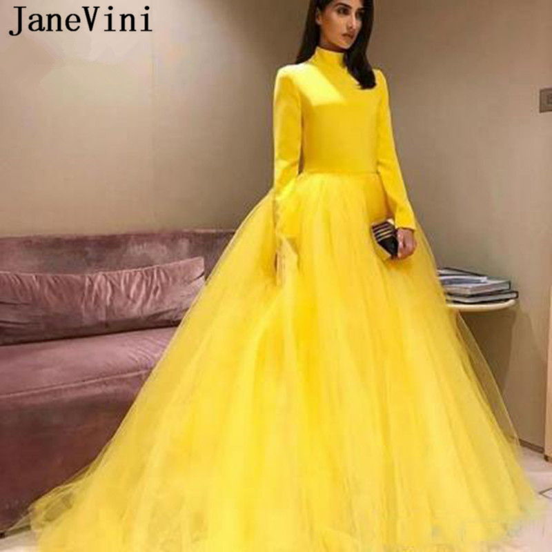 JaneVini Elegant Yellow Prom Dress For Plus Size Woman High Neck Long Sleeve Zipper Back A Line Sweep Train Tulle Formal Dresses