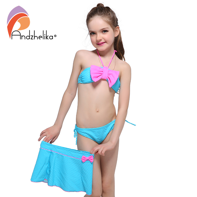 Andzhelika Children's Swimwear 2017 New Dress Girls Bikini Cute Dot Bow tie Swimsuit Child Bikini Set Swim Suit For Girl