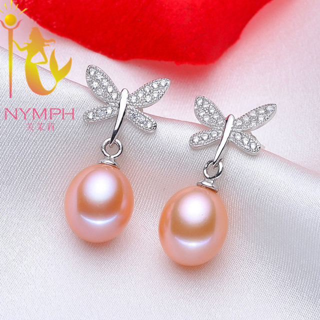 [NYMPH]Natural Pearl Earrings Pearl Jewelry Sterling- Silver- Jewelry Freshwater Black Pearl Earrings FineTrendy Butterfly E1045