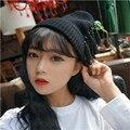 2016 Новая Корея Дамы Черный Серый Кисточкой Трикотажные Шапки Шапочки Caps Для Женщин Женский