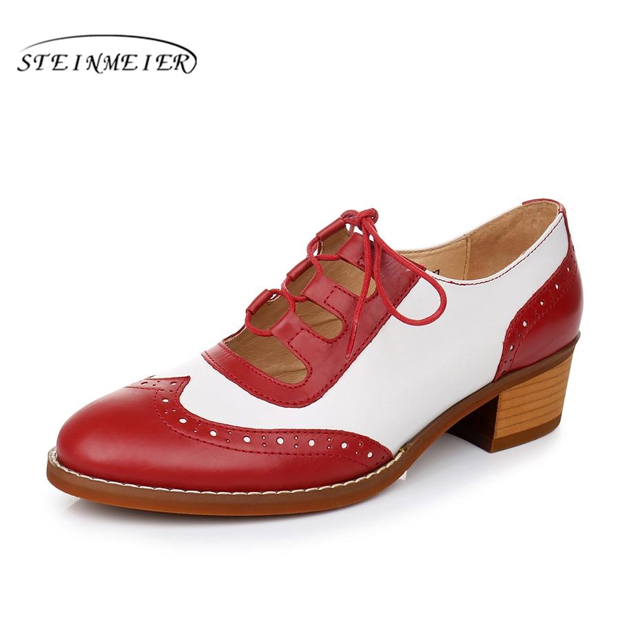 White Derbies Vintage De blue Dame Sandales Noir Mouton La White White Rouge Designer Main Femmes Black red En Oxford Pompes Pour Véritable 2018 Yinzo Peau Chaussures À Cuir D9EIWH2