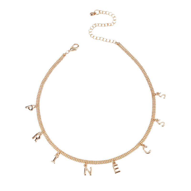 Fashion Simple Words Drop necklaces For Women Gold Metal New Chain Choker Necklace Party Jewelry Men's Gift for Lover