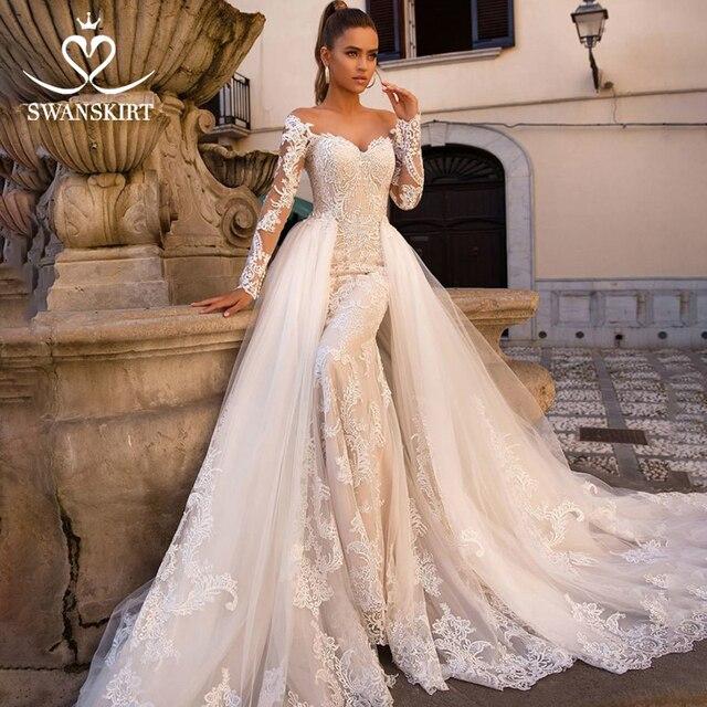 Sexy Mermaid Wedding Dress Detachable Train Swanskirt 2 in 1 Bride Gown Sweetheart Appliques Long Sleeve vestido de noiva LZ06