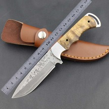 Outdoor Camping Hunting High Hardness Knife Damascus Blade Wooden Handle