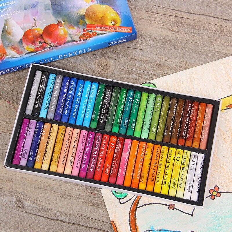 Милые товары для рукоделия мелки 50 цветов мягкие масляные пастели для рисования набор детские воски детский подарок масляные краски, Кисть Живопись пункт