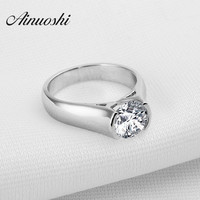 Women Engagement Ring Jewelry Genuine 925 Sterling Silver Rings For Women Luxury 2 Carat Sona Synthetic