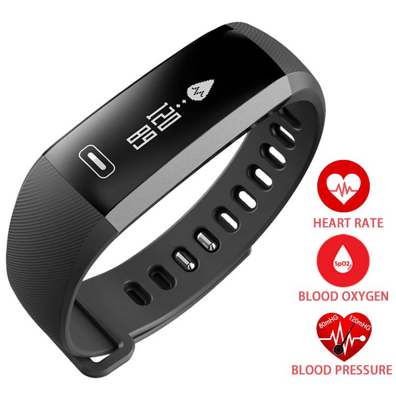 Prix pour Bracelet Bande de Fréquence Cardiaque Sang Pression D'oxygène Oxymètre Bracelet Horloge Montre intelligente Pour iOS Android R5PRO
