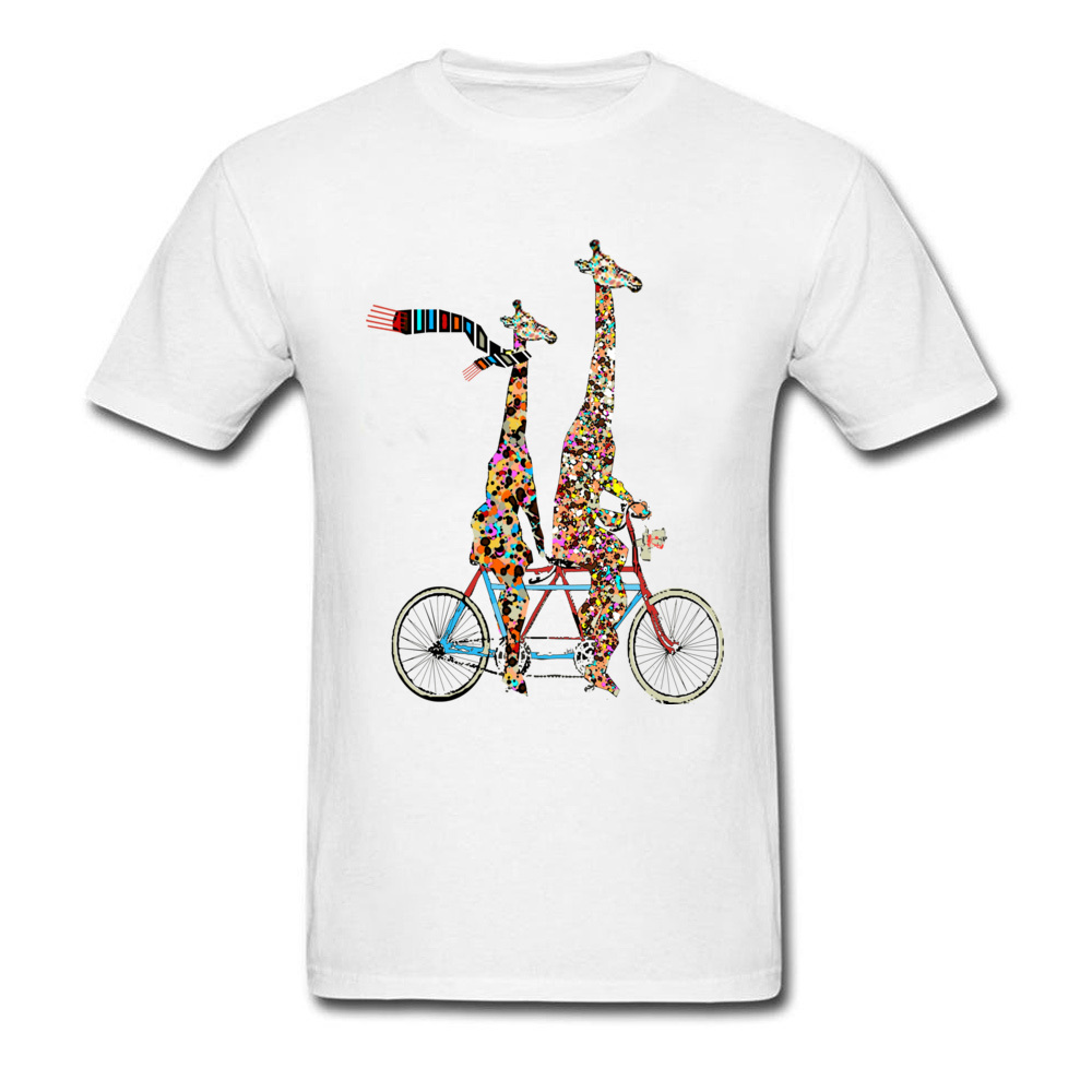 Men Tshirt Giraffes Days Lets Tandem Design Tops T Shirt Pure Cotton Round Neck Short Sleeve Casual Tshirt Father Day Funny