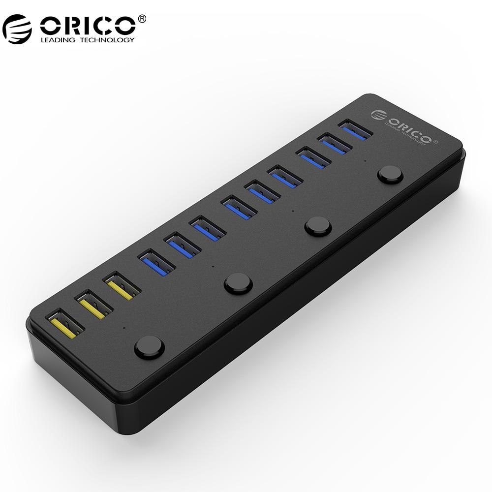 Prix pour Orico p12-u3 usb 3.0 hub avec 12 v 5a puissance adaptateur 60 w 12 Ports avec 3 Port BC1.2 Ports De Charge De Bureau Multi-fonction 3.0 HUB
