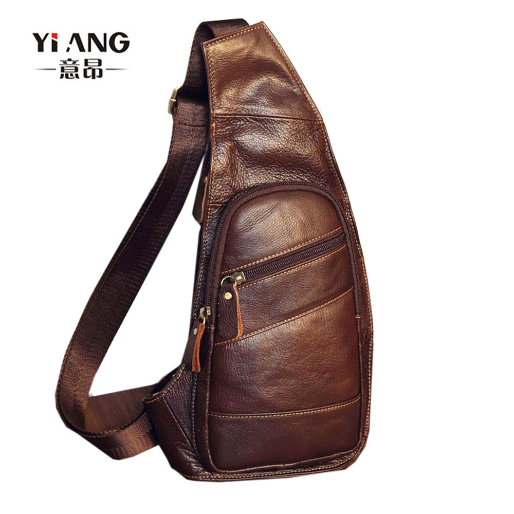 Lelaki Vintage Genuine Leather Sling Dada Bag Cross Body Messenger Shoulder Packet Motorcycle untuk Travel Riding Hiking Pouch