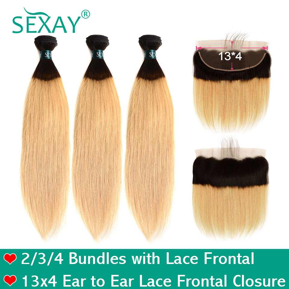 SEXAY 1B 27 Blonde Bundles With Frontal Ombre Brazilian Straight Human Hair Bundles With Closure Remy