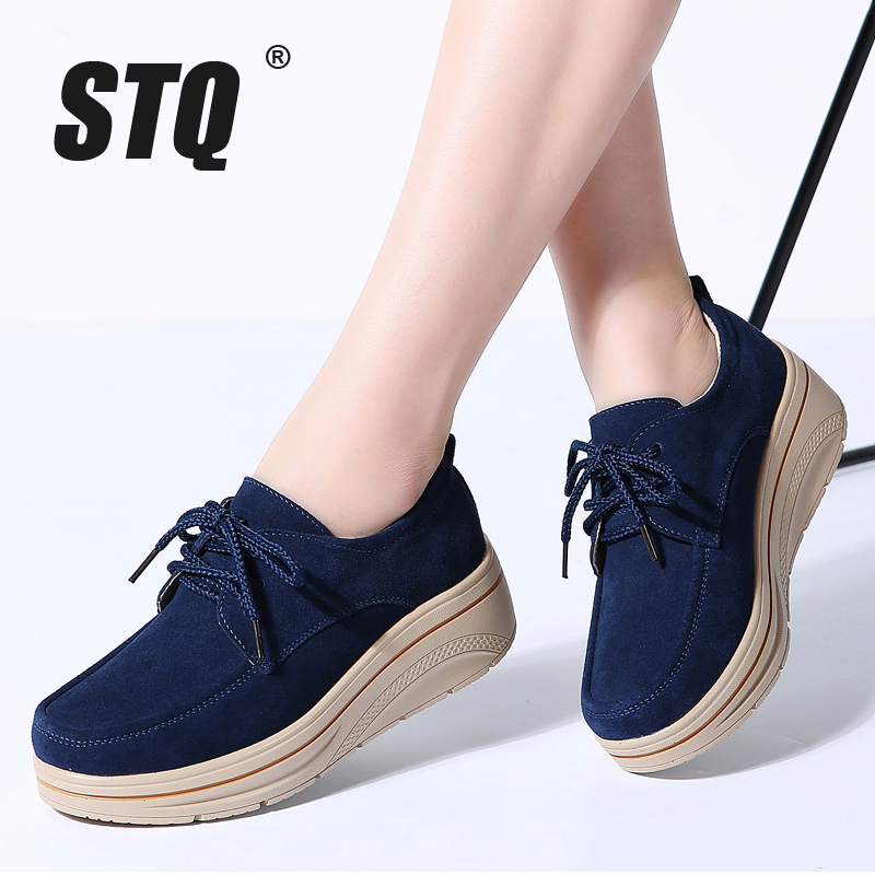 STQ 2018 Autumn women flats leather suede platform sneakers women shoes ladies casual lace up flats creepers moccasins shoes