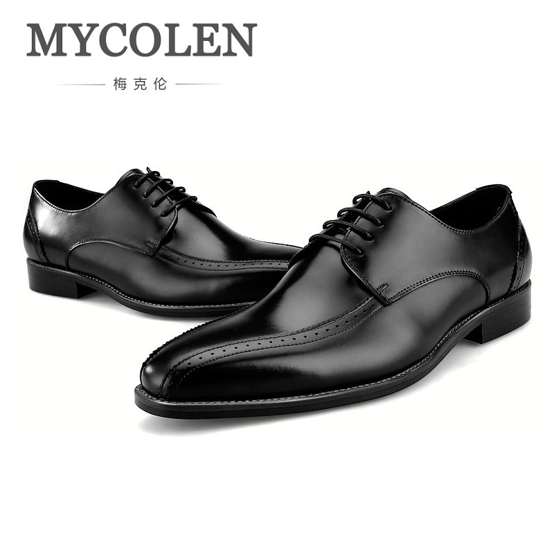 MYCOLEN Fashion Gentleman Genuine Leather Shoes Men Formal Shoes Luxury Business Men Dress Wedding Shoes Erkek Ayakkabi Deri mycolen new fashion men shoes genuine leather men dress shoes high quality comfortable men s business gentleman shoes man
