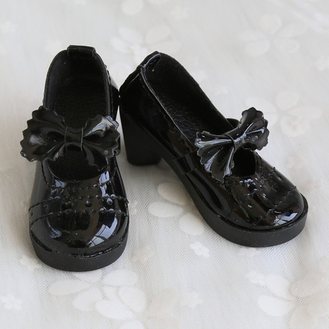Doll Accessories Mini Cute Shoes 1/3 BJD Lolita Chunky Heel Bowknot Shoes 8cm PU Leather for 1/3 BJD 60CM SD Doll Shoes for Girl Karachi