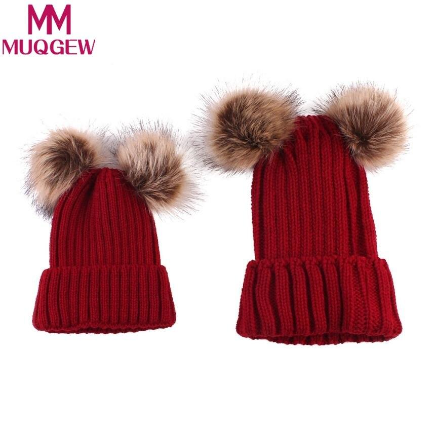 MUQGEW 2 шт. мама ребенка Вязать Пом Bobble Hat для мальчиков и девочек Теплая Зимняя Шапка-бини Детские фотографии реквизит Рождественский капот