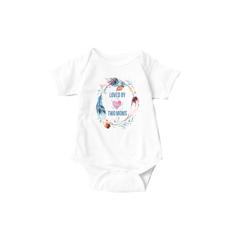YSCULBUTOL Loved By Two Moms Bohemian White Short Sleeve Baby Bodysuit