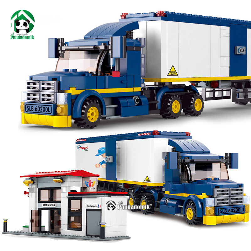 City Truck Station Building Blocks Set 537pcs 7 Toy Figures Educational Toys Car Kids Toys Gift for Children 12 pcs set diy figures city policeman fireman magician teacher nurse building blocks toys kids educational city set child gift
