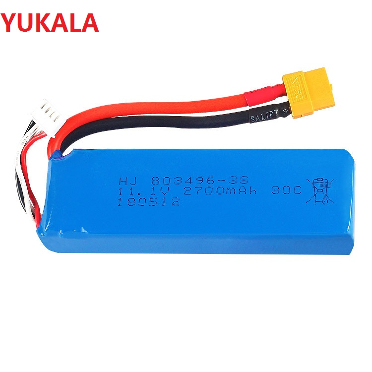 YUKALA 3S <font><b>11.1V</b></font> <font><b>2700mAh</b></font> li-polymer <font><b>Battery</b></font> XT60 for wltoys V303 V393 WL913 CX20 RC quadcopter <font><b>11.1V</b></font> <font><b>2700mAh</b></font> li-polymer <font><b>Battery</b></font> image