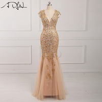 Coloful Crystal Beaded Long Mermaid Evening Dresses 2016 Party Evening Gown Elegant Robe De Soiree Vestido