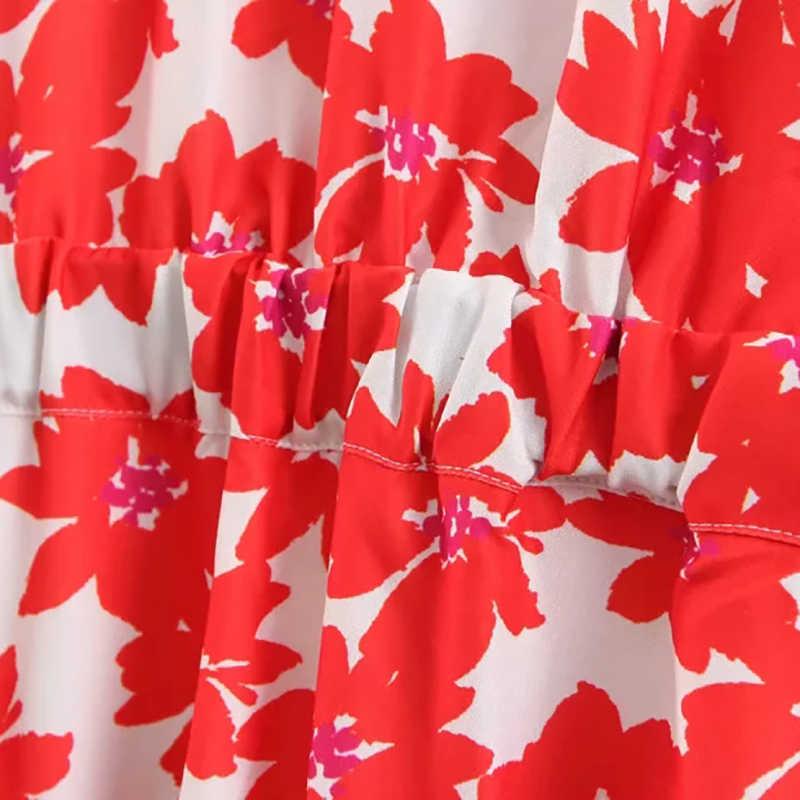 Women Fashion Flower Print Za Red Mini Dress 2019 Spring Summer Chic Boho V-neck Plus Size Bow Dress vestidos de fiesta de noche
