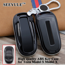 hot deal buy 1pc seeyule abs car key case cover key shell with chain storage bag protector styling car accessories for tesla model s model x