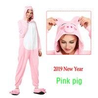 2019 New Adult Pink Pig Cosplay Costume Women Pajama Kigurumi Animal Flannel Soft Sleepwear Onesie Girl Anime Cartoon Costumes