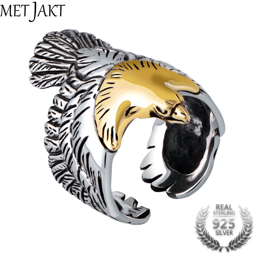 MetJakt Real 925 Sterling Silver Eagle Gold Color Head Open Ring for Men Vintage Steampunk Retro Cool Ring Gift Men Jewelry 1000pcs dupont jumper wire cable housing female pin contor terminal 2 54mm new