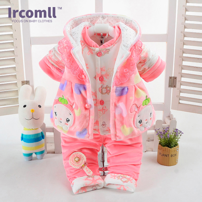 NEW Baby Flannel Set Winter Girl boy Cartoon animal Suit Super Thick Warm Coat Pants Clothing