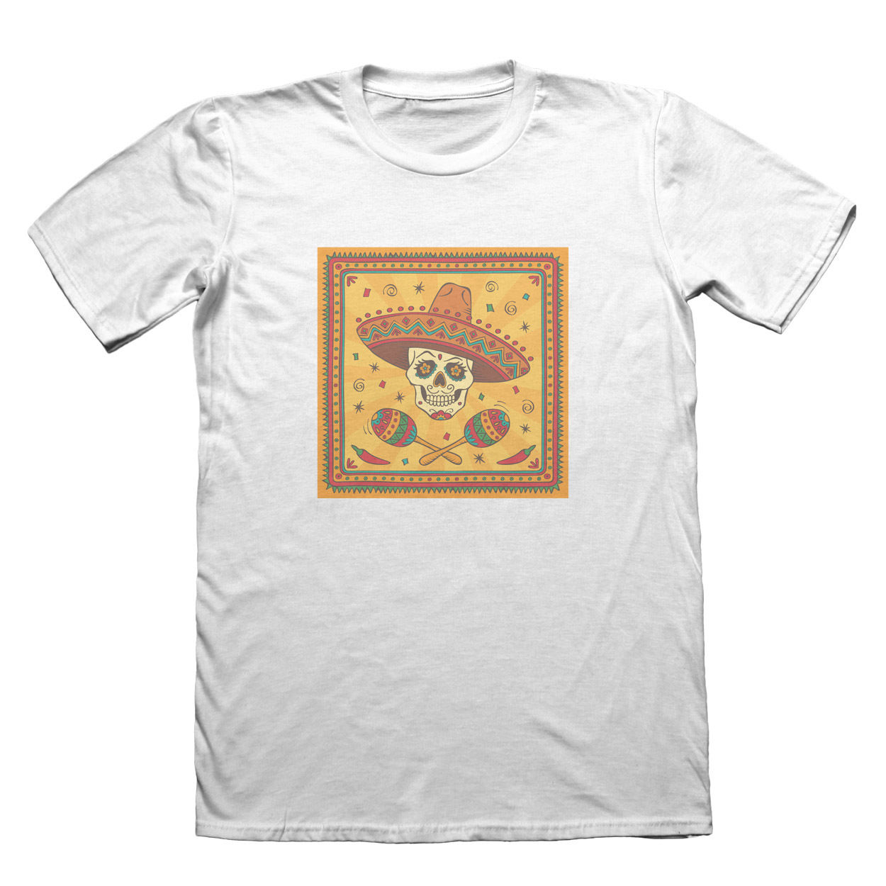 Sugar Skull with Sombrero T-Shirt - Mens Fathers Day Christmas Gift Men 2018 Summer Round Neck MenS T Shirt