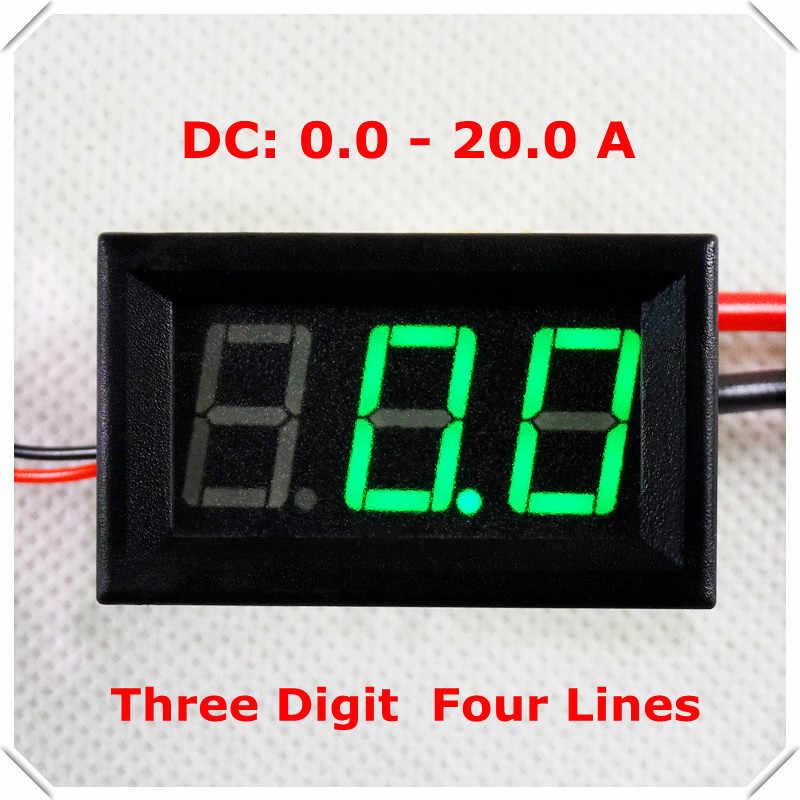 """RD 0,56 """"Цифровой амперметр постоянного тока 0-20A четыре провода 3 разрядный ток Панель метровая led Цвет дисплея: красный [4 шт./лот]"""