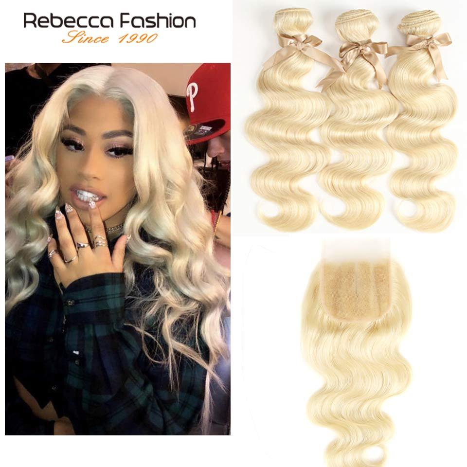 Rebecca Fashion Peruvian Body Wave Human Hair Bundles With Closure 613 Blonde Bundles With Closure 3
