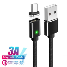 QC3.0 Magnetic USB Cable Mobile Phone Type C Micro 8 Pin Cables For iPhone Samsung Xiaomi Fast Charge 1M Charger Cord Wire