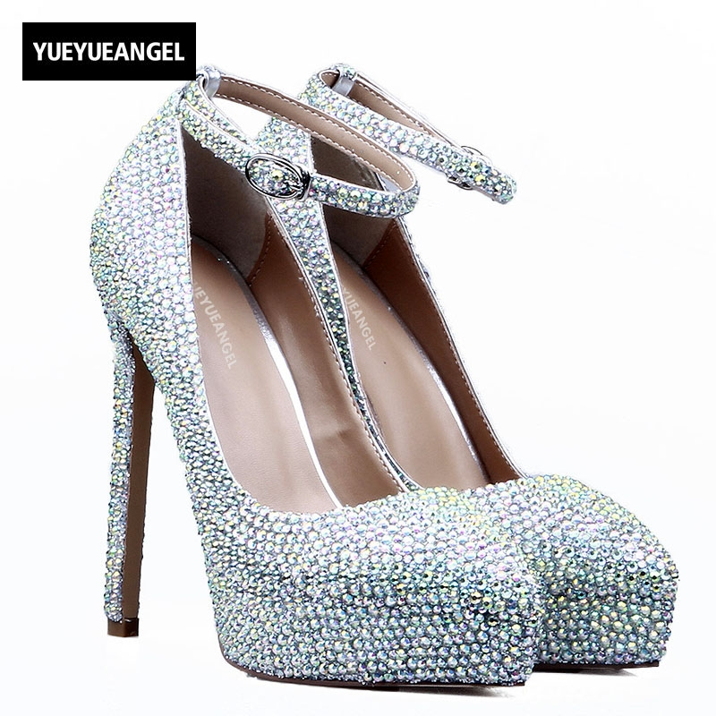 2018 New Shoes Colorful Diamond Thin High Heels Sexy Nightclub Shoes Womens Sandals Platform Party Shoes Crystal Plus Size 34-41 fashion ladies party womens shoes punps high thin heels platform plus size custom made platform shoes new arrive hot sale
