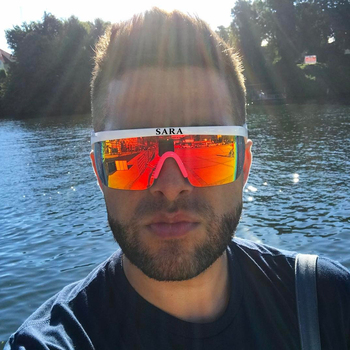 SARA Outdoor Sports Windproof Sunglasses Man Reflective Coating Mirror Glasses Big Surround Eyewear With Non-Slip Nose Goggle CE