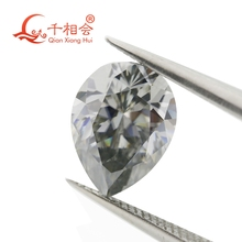 gray color  pear shape Sic material moissanite  loose stone by qianxianghui militech sic