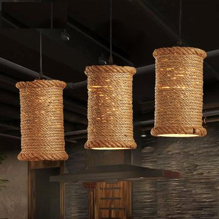 American Loft Style Iron Rope Droplight LED Vintage Pendant Light Fixtures For Dining Room Creative Hanging Lamp Home Lighting retro loft style rope bamboo droplight creative iron vintage pendant light fixtures dining room led hanging lamp home lighting