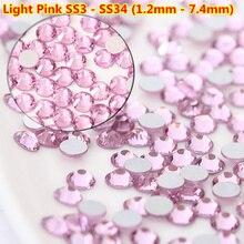 Mix 1440pcs Light Pink Nail Crystal Rhinestone ss3 ss4 ss8 ss10 ss30 swarovsky Non Hotfix Flat Back Glass stones  DIY Nails Art