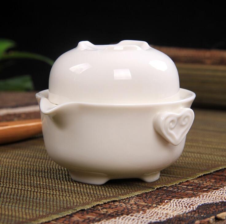 Čajový set Včetně 1 hrnce 1 šálek Elegantní gaiwan, cestovní čajová souprava s bílou keramikou, krásná a snadná konvice na čaj zdarma