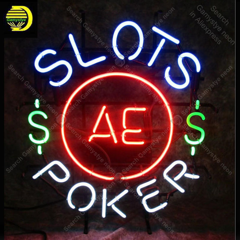 NEON SIGN For Slots AE Poker NEON Lamp GLASS Tube Decor Stor Room Window Handcraft Advertise anuncio luminoso Custom White Board