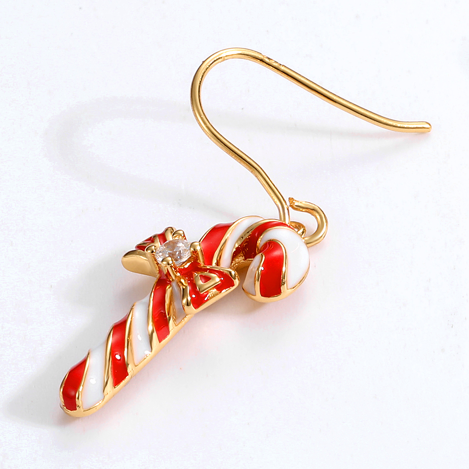 ALLNOEL S925 Enamel Drop Earrings For Women Handmade Candy Stick Socks Christmas Party Jewelry 925 Sterling Silver Earrings Gift