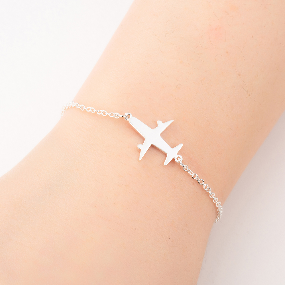 Oly2u Stainless Steel Plane Bracelets for Women Girls Lovely Airplane Jewelry Children Birthday Gift image
