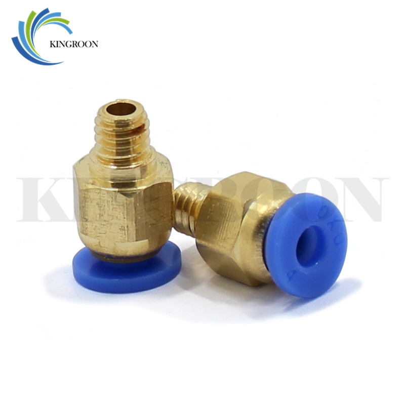 2pcs PC4-M6 Pneumatic Straight Connector Coupler Part For MK8 OD 4mm 2mm Tube Filament M6 3D Printers Parts Brass Feed Fitting