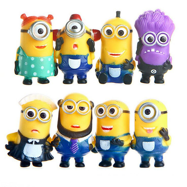 8pcslot despicable me 2 minions action figure toy sets christmas gifts 3d eyes 5cm - Minion Christmas