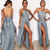 TEMOFON Summer Women Sexy Dress Halter Lace Up Long Party Dress Boho Vestidos Bodycon Strapless Backless