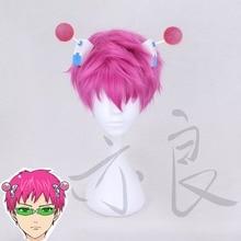 La desastrosa VIDA DE Saiki K. Peluca de Cosplay Saiki Kusuo, peluca corta recta de pelo sintético Rosa + gorro de peluca