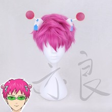 The Disastrous Life of Saiki K. Cosplay Wig Saiki Kusuo Straight Short Pink Synthetic Hair +Wig Cap
