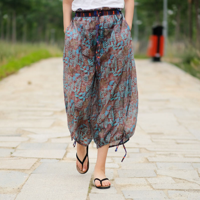 Summer Ramie Loose Printing   Pants   Elastic Waist Straight Wide Calf-length   Pants     Capris   Trousers